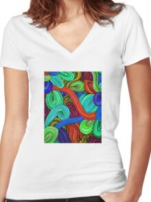 Psychedelic Lines (Red) Women's Fitted V-Neck T-Shirt
