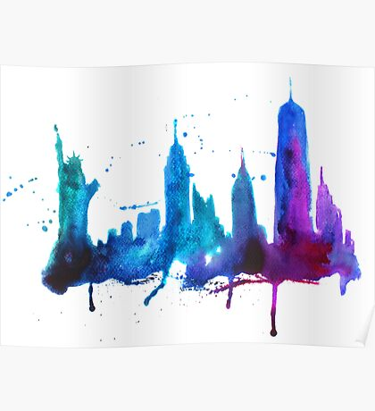 Watercolor New York Skyline Silhouette Poster