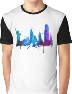 Watercolor New York Skyline Silhouette Graphic T-Shirt