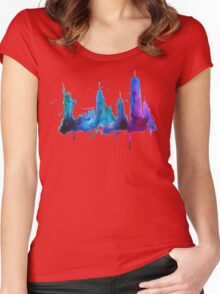 Watercolor New York Skyline Silhouette Women's Fitted Scoop T-Shirt
