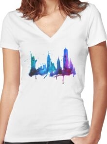 Watercolor New York Skyline Silhouette Women's Fitted V-Neck T-Shirt