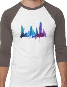 Watercolor New York Skyline Silhouette Men's Baseball ¾ T-Shirt