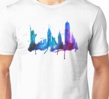 Watercolor New York Skyline Silhouette Unisex T-Shirt