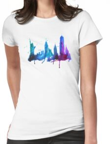 Watercolor New York Skyline Silhouette Womens Fitted T-Shirt