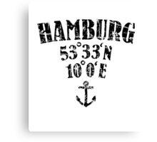 Hamburg Koordinaten Vintage Schwarz Canvas Print