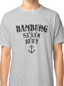 Hamburg Koordinaten Vintage Schwarz Classic T-Shirt