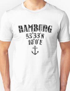 Hamburg Koordinaten Vintage Schwarz T-Shirt