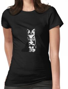 Kitty Cat (White) Womens Fitted T-Shirt
