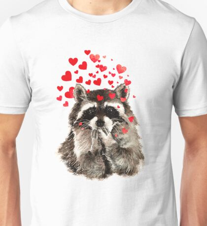 Cute Watercolor Raccoon Blowing Kisses & Hearts Unisex T-Shirt