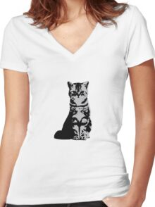 Kitty Cat (Grey) Women's Fitted V-Neck T-Shirt