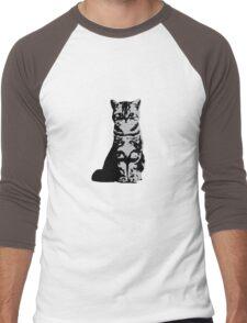 Kitty Cat (Grey) Men's Baseball ¾ T-Shirt
