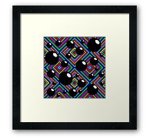 Black shiny balls and colored diamonds. Framed Print