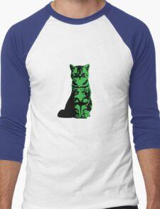 Kitty Cat (Green) Men's Baseball ¾ T-Shirt