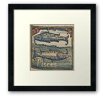 Pisces Woodcut Framed Print