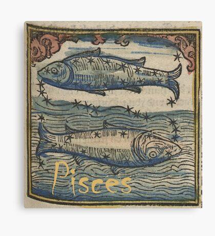Pisces Woodcut Canvas Print