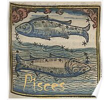 Pisces Woodcut Poster