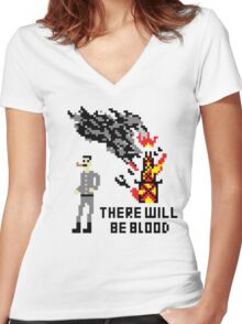 There Will Be Blood Pixel Women's Fitted V-Neck T-Shirt