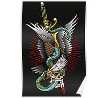 Eagle and snake tatoo design Poster