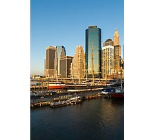 Early Morning Harbor - Lower Manhattan Skyline and South Street Seaport Historic Ships Photographic Print