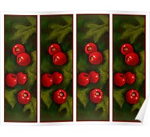 Hawthorn Berries: Red on Green: Pattern: Oil Pastel Art Poster