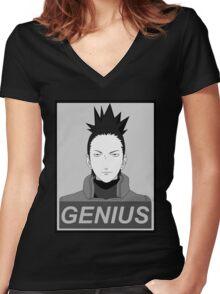 True Genius  Women's Fitted V-Neck T-Shirt
