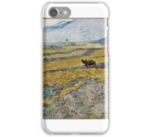 Enclosed Field with Ploughman October Vincent van Gogh (Dutch (worked in France), iPhone Case/Skin
