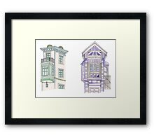 Pastel House Illustrations Framed Print