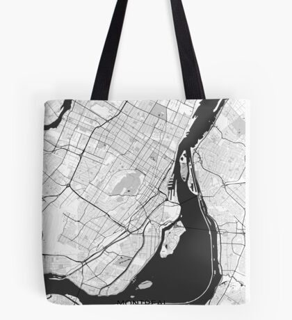 Montreal Map Gray Tote Bag