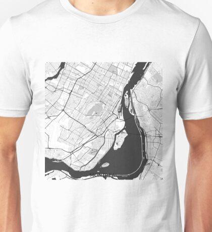Montreal Map Gray Unisex T-Shirt