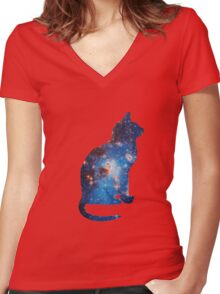 galaxy cat triangle  Women's Fitted V-Neck T-Shirt