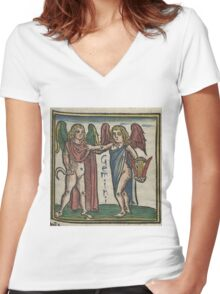 Gemini 16th Century Woodcut Women's Fitted V-Neck T-Shirt