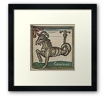 Capricorn Woodcut Framed Print