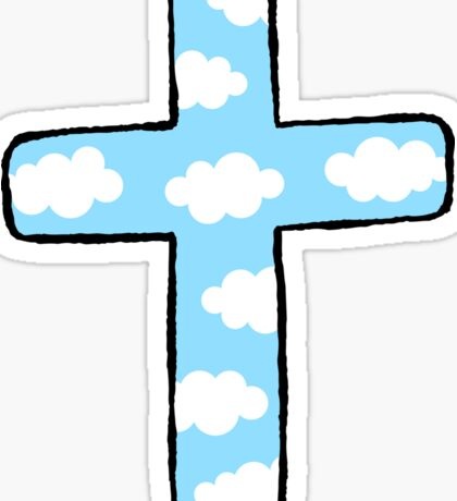 Sky cross with white clouds Sticker