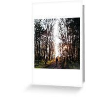 Man Walking Through the Forest Greeting Card