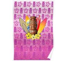Pink Tiki and Surfboards Poster