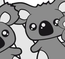 sweet little baby koala cute mamapapa 2 children couple holds family eucalyptus tree itself Sticker