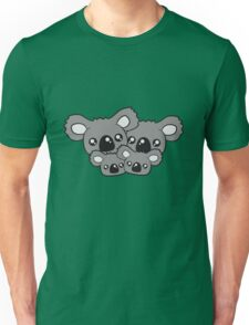 sweet little baby koala cute mamapapa 2 children couple faces heads family Unisex T-Shirt