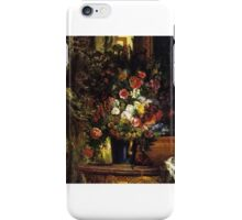 Eugène Delacroix - A Vase of Flowers on a Console iPhone Case/Skin
