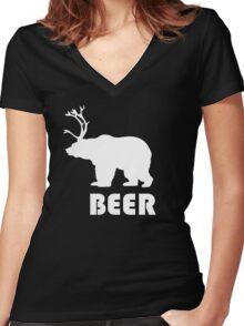 Beer Bear Women's Fitted V-Neck T-Shirt