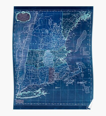 American Revolutionary War Era Maps 1750-1786 102 A map of the most inhabited part of New England containing the provinces of Massachusets Bay and New Inverted Poster