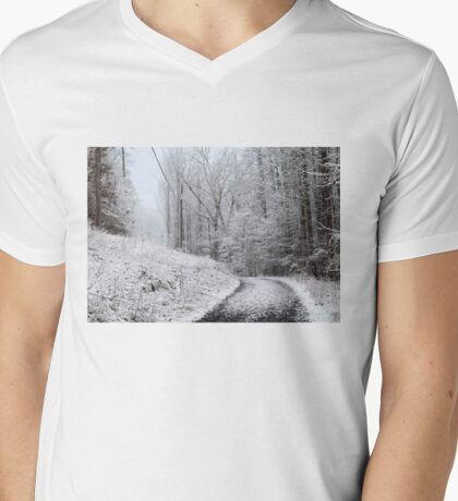 Around the Bend (snow scene in the mountains) Mens V-Neck T-Shirt