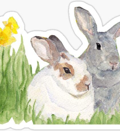 Springtime Bunnies in Flowers  Sticker