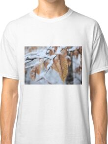 Snowy Leaf Close-up (winter snow scene) Classic T-Shirt