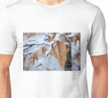 Snowy Leaf Close-up (winter snow scene) Unisex T-Shirt