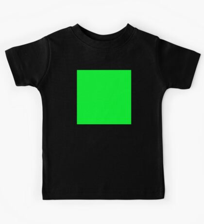 GREEN SQUARE, Green, Eco, Ecology, Ecological, Nature, Natural, on BLACK Kids Tee