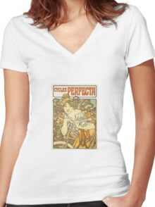 Alphonse Mucha - Cycles Perfecta  Women's Fitted V-Neck T-Shirt