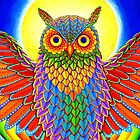 Psychedelic Rainbow Owl by Rebecca Wang