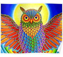 Psychedelic Rainbow Owl Poster