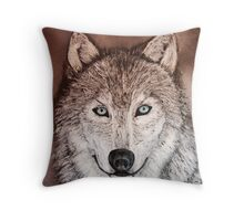 Mixed-media Grey wolf with blue eyes painting  Throw Pillow