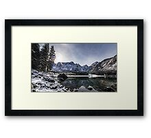 first snow at the mountain lake Framed Print